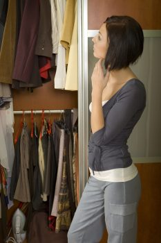 woman checking the closet